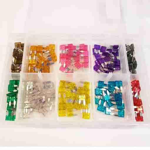 Assorted Fuses: 200 Mini Blade Fuses